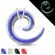 Pyrex Glass Spiral Tapers with Glow in the Dark Sparkles