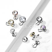 Implant Grade Titanium 16 Gaug 3-Hole Internally Threaded Dermal Anchors with Flat Round Crystal Bezel Set Top