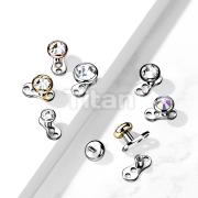 Implant Grade Titanium  3-Hole Internally Threaded Dermal Anchors with Flat Round Crystal Bezel Set Top