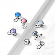 Implant Grade Titanium 16 Gauge3-Hole Internally Threaded Dermal Anchors with Flat Round Opal Bezel Set Top