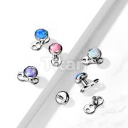 Implant Grade Titanium 3-Hole Internally Threaded Dermal Anchors with Flat Round Opal Bezel Set Top