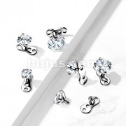 Implant Grade Titanium 16 Gauge3-Hole Internally Threaded Dermal Anchors with Prong Set CZ Top