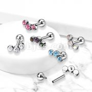 Implant Grade Titanium Internally Threaded Cartilage Barbells with 3-Bezel Set Round Austrian Crystal Top