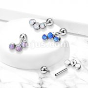 Implant Grade Titanium Internally Threaded Cartilage Barbells with 3-Bezel Set Round Opa Top