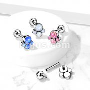 Implant Grade Titanium Internally Threaded Cartilage Barbells with Opal Bezel set Paw To