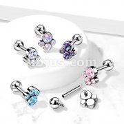 Implant Grade Titanium Internally Threaded Cartilage Barbells with CZ Bezel set Paw Top