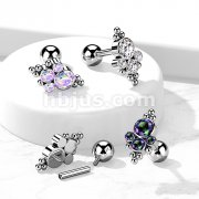 Implant Grade Titanium Internally Threaded Cartilage Barbells with Bezel Set CZ and Ball Cluster Top
