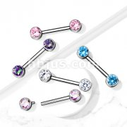Implant Grade Titanium Nipple Barbells with CZ bezel Set Internally Threaded Ends
