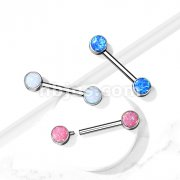 Implant Grade Titanium Nipple Barbells with Opal bezel Set Internally Threaded Ends