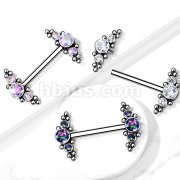 Implant Grade Titanium Nipple Barbells with Bezel Set CZ and Micro ball Cluster Internally Threaded Ends