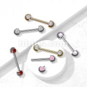 Implant Grade Titanium Nipple Barbells Internally Threaded with Bezel Set CZ Center and Beaded Edge