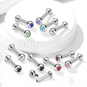 Implant Grade Titanium Internally Threaded Labret Studs with Jeweled Balls