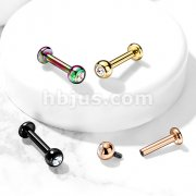 Solid G23 Implant Grade Titanium Internally Threaded Labret Studs with Jeweled Balls
