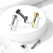 Implant Grade Titanium Internally Threaded Labret Studs with Lightening Bolt Top