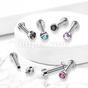 Implant Grade Titanium Internally Threaded Labret with Bezel Set Round Gem Top