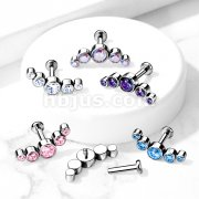 Implant Grade Titanium Internally Threaded Labret, Flat back Studs with 5-Round CZ Bezel Set Curve Top