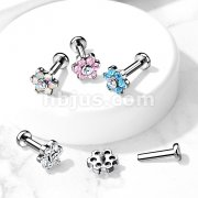 Implant Grade Titanium Internally Threaded Labret, Flat back Studs with CZ Set Flowe Top