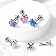 Implant Grade Titanium Internally Threaded Labret, Flat back Studs with Opal Set Flower Top