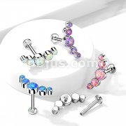 Implant Grade Titanium Internally Threaded Labret, Flat back Studs with 5-Round Opal Set Curve Top