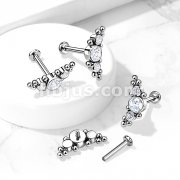 Implant Grade Titanium Internally Threaded Labret, Flat ack Stud with 3 CZ and Ball Clusters