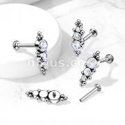 Implant Grade Titanium Internally Threaded Labret, Flat Back Stud with 3 Descending CZ and Ball Clusters
