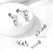 Implant Grade Titanium Internally Threaded Labret, Flat Back Stud with 3 Descending CZ