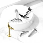 Implant Grade Titanium Labret with Curved 7 Ball Studs for Chin, Monroe, Ear Cartilage, and More