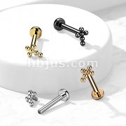 Implant Grade Titanium Internally Threaded Flat Back Labret Stud with 1.3mm Ball Clustered Cross