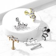 Implant Grade Titanium Internally Threaded 4 Marquise CZ Fan Labret , Flat Back Studs for Ear Cartialge, Chi and More