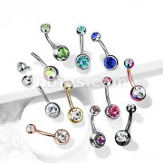 Implant Grade Titanium Internally Threaded Double Jeweled Belly Button Rings