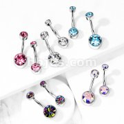 Implant Grade Titanium Internally Threaded Top Double Round Swarovski Crystal Bezel Set Belly Button Rings