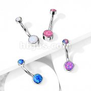 Implant Grade Titanium Iternally Threaded Top Doube Round Opal Bezel Set Belly Button Rings