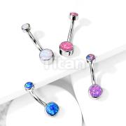 Implant Grade Titanium Internally Threaded Top Double Round Opal Bezel Set Belly Button Rings