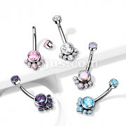 Implant Grade Titanium Internally Threaded Top Round Bezel Set CZ Cluster Belly Button Rings