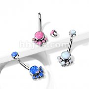 Implant Grade Titanium Internally Threaded Top Round Bezel Set Opal Cluster Belly Button Rings