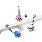 Implant Grade Titanium Internally Threaded Top Round Bezel Set Opal Cluster Belly Button Rings
