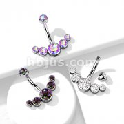 Inspiration Dezigns Pair of Nipple Barbell Ring Angels Wings with Lined CZs Sold by Piece