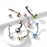 Implant Grade Titanium Internally Threaded Opal Set Double Jeweled Belly Button Rings