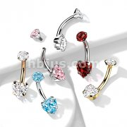 Implant Grade Titanium Prong Set Heart CZ and Internally Threaded Round CZ Top Belly Button Navel Rings