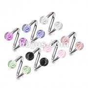 316L Surgical Steel Twist Ring with Super Glitter Balls 210pc Pack (30pcs x 7 colors)