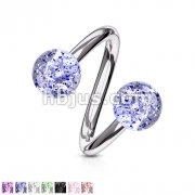 Twist Ring with Super Glitter Balls 316L Surgical Steel
