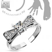 Bow Solitaire CZ .925 Sterling Silver Toering