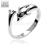 Dolphin with CZ .925 Sterling Silver Toering