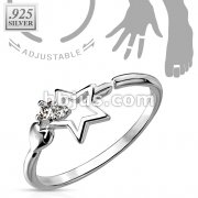 Star with CZ .925 Sterling Silver Toering