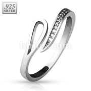 .925 Stering Silver Adjustable Toe Ring with Lined CZ