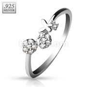 .925 Stering Silver Adjustable Toe Ring with CZ Set Flowers and Butterfly