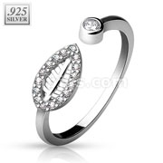 .925 Stering Silver Adjustable Toe Ring with CZ Paved Leaf