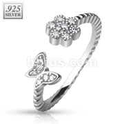 CZ Paved Flower and Butterfly .925 Silver Adjustable Toe Ring
