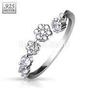 CZ Paved Flowers and Round CZ Dangle .925 Stering Silver Adjustable Toe Ring