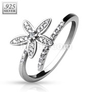 Double Lined CZ with CZ Paved 5 Petal Flower .925 Stering silver Adjustable Toe Ring